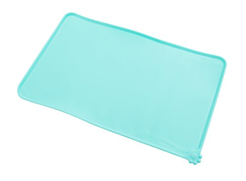 - Gefry Pet Food Silicone Bowl Mat FDA Grade Feeding Tray for Cats and Dogs (Green)