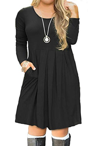 Sleeve Women's with 1 Plus FOLUNSI Dress Size Pleated black Casual Long T Shirt Pockets WBqqXdv