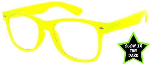 Classic Vintage Yellow Frame Clear Lens Sunglasses Retro 80's OWL