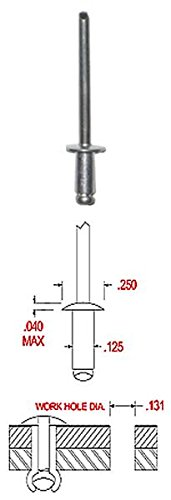 AD44ABS ALUMINUM BLIND RIVET WITH ALUMINUM MANDREL, DOME HEAD, 1/8 x .188-.250 GRIP (Pack of 500) by HANSON RIVET (Image #1)