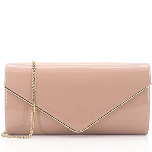 Dexmay Patent Leather Envelope Clutch Purse Shiny Candy Foldover Clutch Evening Bag for Women Nude -