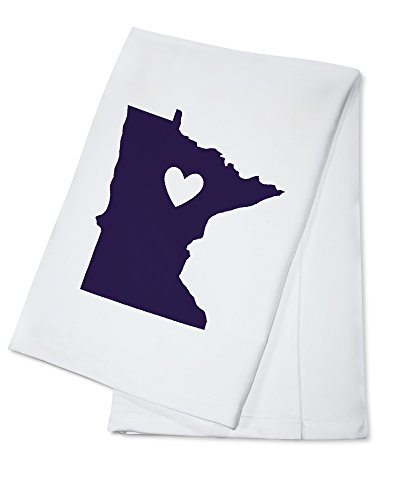 - Minnesota - State Outline and Heart (100% Cotton Kitchen Towel)