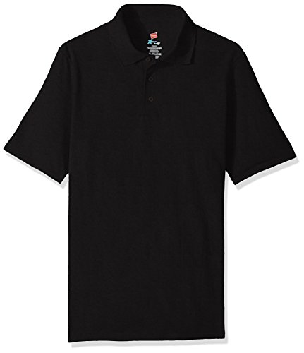 Hanes Men's Short Sleeve X-Temp W/FreshIQ Polo, Black, XX-Large