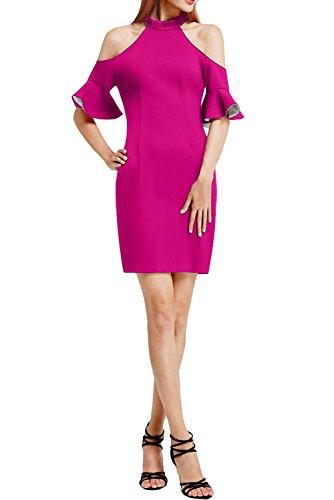 Vintage Chiffon Partykleid Kurz Abendkleid Promkleid Linie Ivydressing Rundkragen Pink Schlitz Festkleid Damen Etui wFaqg