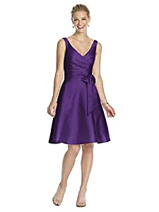 Alfred Sung Women's Cocktail V-Neck Dress with Circle Skirt by Majestic - Size 4
