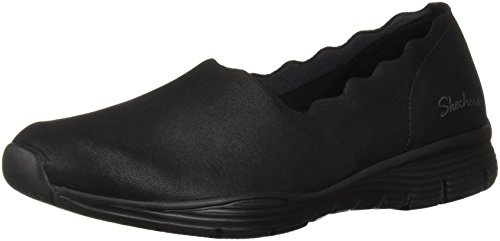(Skechers Women's Seager-Triple Ripple-Scallop Collar Slip On Loafer, Black, 9 M US)