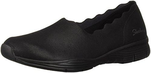 Skechers Women's Seager-Triple Ripple-Scallop Collar Slip On Loafer, Black, 8 M US