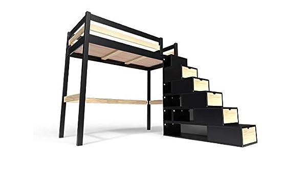 ABC MEUBLES - Cama Alta Sylvia con Escalera Cubo - Cube - Negro/Barnices Naturales, 90x200: Amazon.es: Hogar