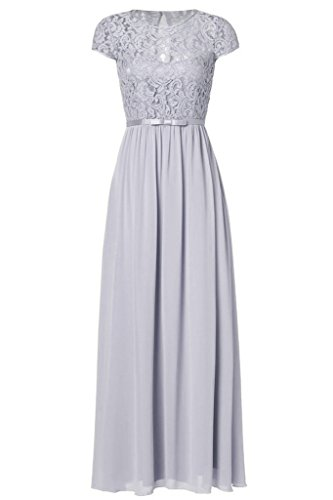 Ssyiz Women's Vintage Floral Lace Cap Sleeve Long Chiffon Bridesmaid Evening Dress...