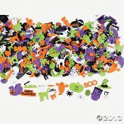 OTC 500 Assorted Halloween Foam Craft Stickers - Self Adhesive Shapes