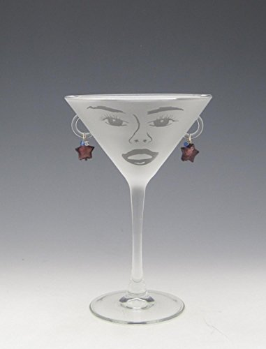 Ring Cocktail Diva (Set of 4 Stella Etched Martini Glasses with Pale Blue Star Earrings 7.25 ounces)
