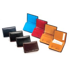 ブリティッシュグリーン ダブルブライドルレザー カードケース 64868 B00I7LPYJ6  ネイビー×ライトブルー