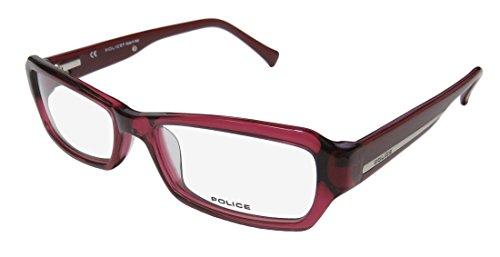 Police V1696 Mens/Womens Designer Full-rim Flexible Hinges Eyeglasses/Eyeglass Frame (51-16-140, Raspberry / - Police Glasses Prescription
