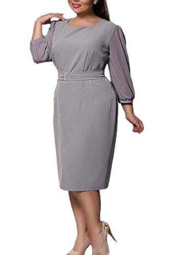 Vestito Coolred Accetta Donne Il Chiffon Dimensioni Grigio Bodycon Vita Congiungono Più 4FnCS0x