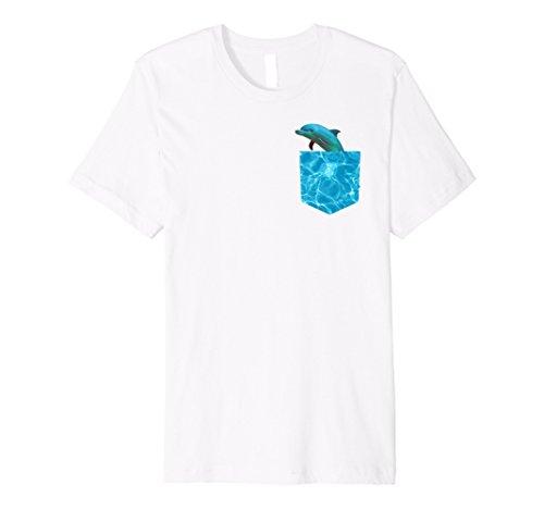 Mens Rare Dolphin Pocket Vaporwave T Shirt Medium (Dolphin Pocket)