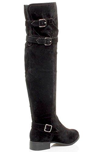 Plat D'quitation Genou Sur Talon Black Ajvani Womens Hiver Zipp Bas Le Suede Boucle Ladies Bottes Taille 7cxYqT