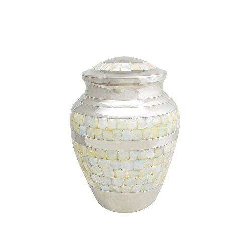 (Perfect Memorials Medium Brass Nickel Mother of Pearl Cremation Urn)