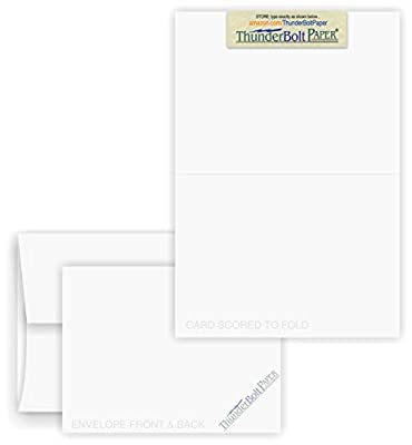 5X7 Folded Size with A-7 Envelopes - Smooth Bright White - 25 Sets (7X10 Cards Scored to Fold in Half) Blank Pack, Smooth Finish -Invitations, Greetings, Thank Yous, Notes, Occasions - 80# Cardstock