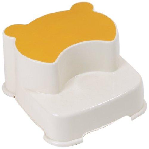 Dr. Schandelmeier 355664 2-Stufen-Kinderschemel Tritthocker, weiß-gelb