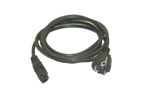 Interpower 86230110 Continental European AC Cord Set, CEE 7/7 Plug Type, IEC 60320 C13 Connector Type, Black Plug Color, Black Cable Color, 10A Amperage, 250VAC Voltage, 2.5m Length