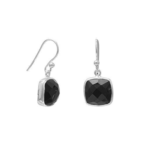 10 mm Square Faceted Black Onyx Sterling Silver French Wire Earrings