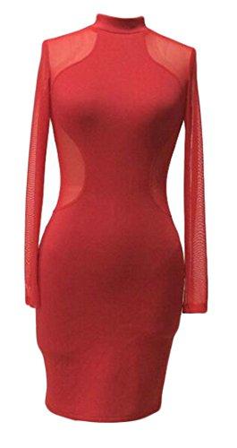 Jaycargogo Des Femmes De Maille Sexy Cou Mock Manches Longues Moulante Club Fête Mini-robe Rouge