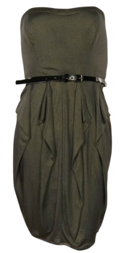 Jessica Simpson Women's Strapless Dress with Pointed Ruffle Skirt Gold Dress 4 (Jessica Sleeveless Skirt)