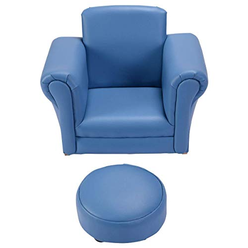 (Costzon Kids Chair and Ottoman Set with Rocking Function(Blue))