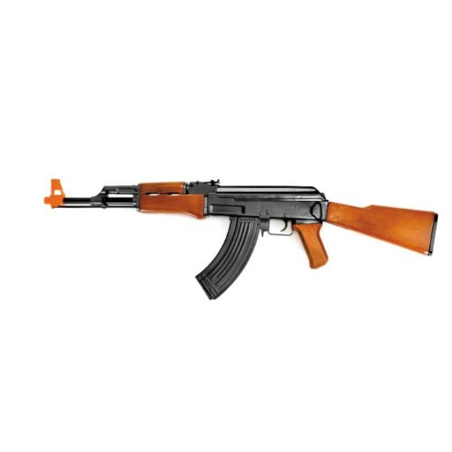 cyma cm022 ak-47 electric airsoft gun full & semi auto fps-250 full stock high capacity magazine faux wood finish(Airsoft Gun)