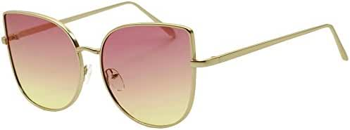 XL Oversized Oceanic Two Tone Gradient Mirror Flat Lens Gold Metal Frame Cat Eye Sunglasses