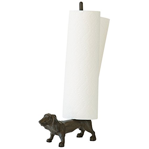 Bits and Pieces - Cast Iron Dachshund Paper Towel and Dog Toilet Paper Holder - Great Kitchen and Bathroom Accessory