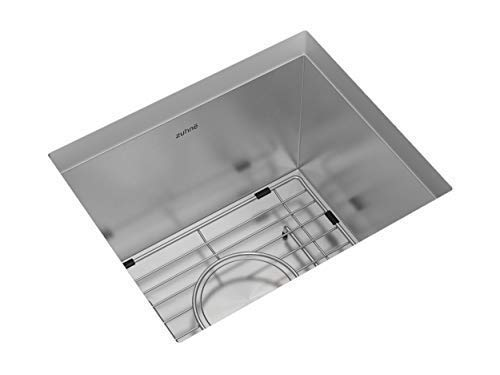 ZUHNE 15x13 Inch Small RV, Wet Bar, Prep, Laundry Utility Zero Radius Single Under Mount Stainless Sink W. Grate Protector, Drain Strainer and Mounting Clips, Fits 15''/18'' Cabinet