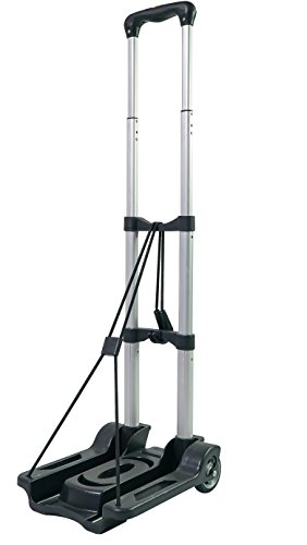 Portable Aluminum Foldable Luggage Hand Cart Capacity 85Lbs (Black)
