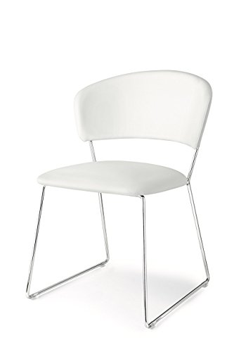 Calligaris Dining Chairs - Connubia Atlantis Chair - Metal Stained Chromed Frame - Ekos White Seat