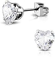 Pure316 Women's 3mm | Prong-Set Heart Stud Earrings w/ Clear CZ in 316L Stainless Steel - JK-XR