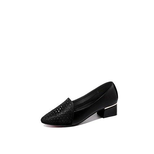 Zapatos de Mujer tacón Crudo con Sandalias de Hilo netas Baotou 2018 Verano Zapatos de Verano de Las Mujeres (Color : Negro, tamaño : 39)