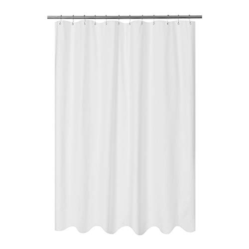 Mrs Awesome Embossed Microfiber Fabric Long Shower Curtain Liner 78 inches Length, Washable and Water Repellent, White (Extra Long Shower Curtain Vinyl)
