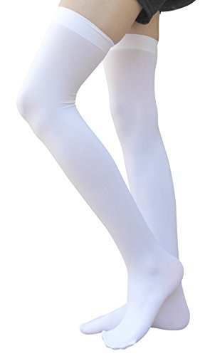 Solid Thigh High Sock (AM Landen White Over Knee Thigh High Stockings Solid Opaque Stockings(Med-Long version))