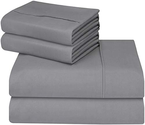 Utopia Bedding Soft Brushed Microfiber Wrinkle Fade and Stain Resistant 4-Piece Queen Bed Sheet Set - Grey