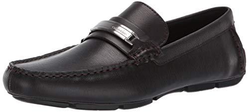 Calvin Klein Men's Kolton Loafer, Dark Brown Hatched Embossed Leather, 13 M M US