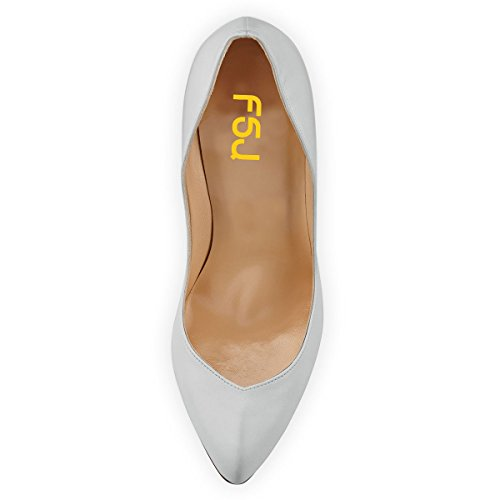 Zapatos De Tacón Alto De Tacón Stiletto De Las Mujeres De Fsj Bombas De Punta Estrecha Deslizamiento Formal Vestido De Noche Del Partido Zapatos Tamaño 4-15 Us Blanco