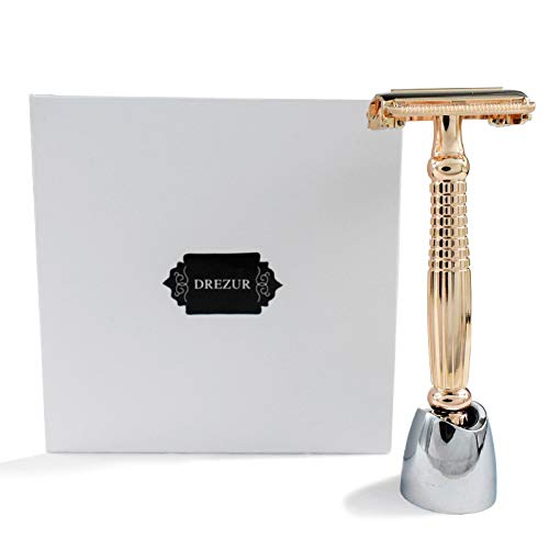 Rose Gold Butterfly Razor with Stand, DREZUR Long Handle Double Edge Safety Razor with 15 Premium Razor Blades, Gift for Men