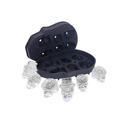 Halloween Ice Cubes Ideas (FOLOU Halloween 3D Skull Ice Cube Tray, Halloween Skull 6 Holes with Spill-Resistant Lid Skull Shaped Ice Tray Silicone Ice Cube Frozen Party Home Candy Mold, Flexible Silicone Ice Cube)