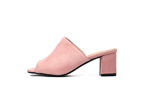Toe Mules Des Bloc Sandales Talon Des Femmes Milieu Daim Chaussures Vous Des Glissent Sur Roses En Peep xwqUX06nA7