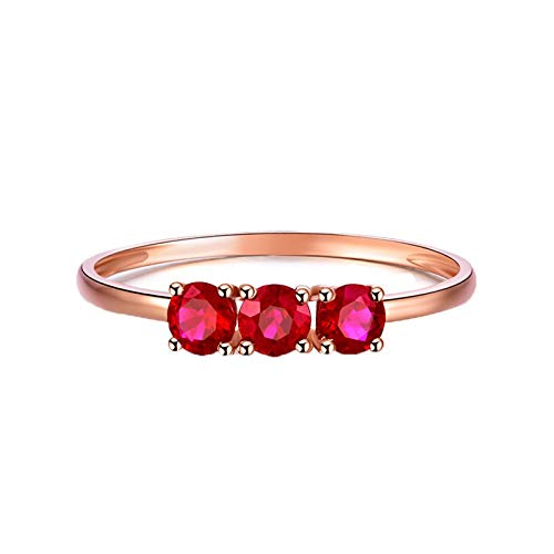 Ring Stackable Artcarved - Epinki Women 18K Rose Gold Ring, 0.47CT Round Shape Ruby Ring Wedding Band Ring Size 5