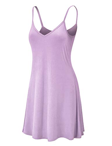 LL WDR1090 Womens V Neck Spaghetti Strap Tunic Short Dress S Lilac