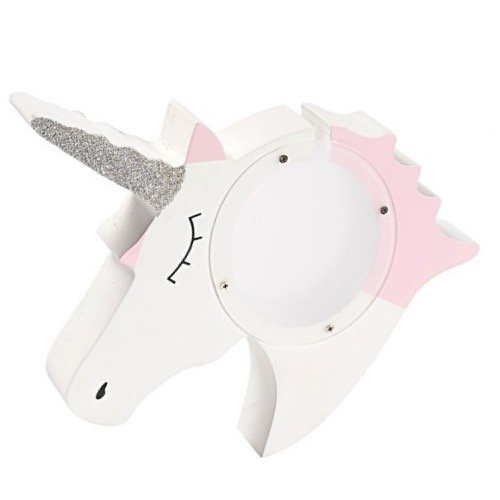 Juvale Coin Piggy Bank - Wooden Acrylic Unicorn Piggy Bank Money Box for Kids Coins Saving, White, 7.75 x 1.25 x 9.19 Inches