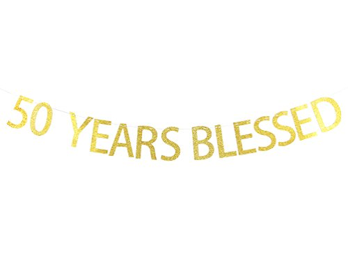 50 Years Blessed Banner Gold Glitter Sign - 50th Birthday - Wedding Anniversary Party ()
