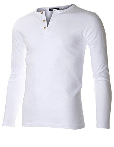 FLATSEVEN Casual Henley Shirt Button