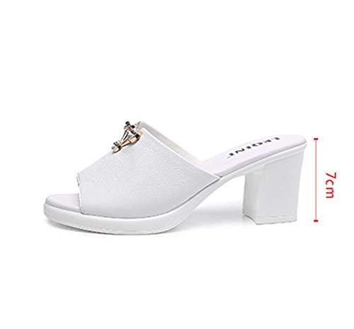 Zapatillas de tacón alto señoras moda de verano con zapatillas frescas femenino 2